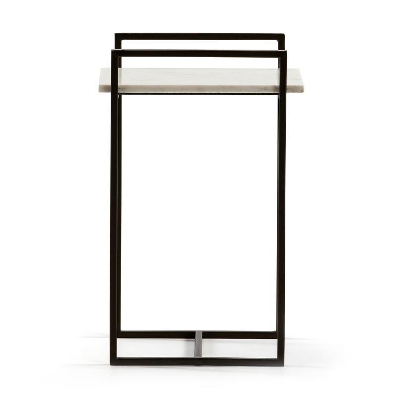 Table d'appoint, bout de canapé, bout de canapé 36x23x56 Marbre Blanc Métal Noir - image 51584