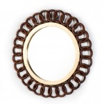 Mirror 91X3X91 Glass Tin Golden Wood Brown