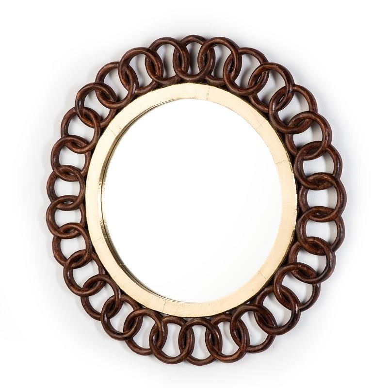 Mirror 91X3X91 Glass Tin Golden Wood Brown - image 51585