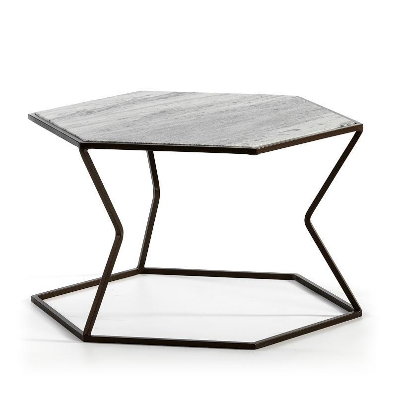 Coffee Table 61X61X41 Marble Metal Dark Brown - image 51586
