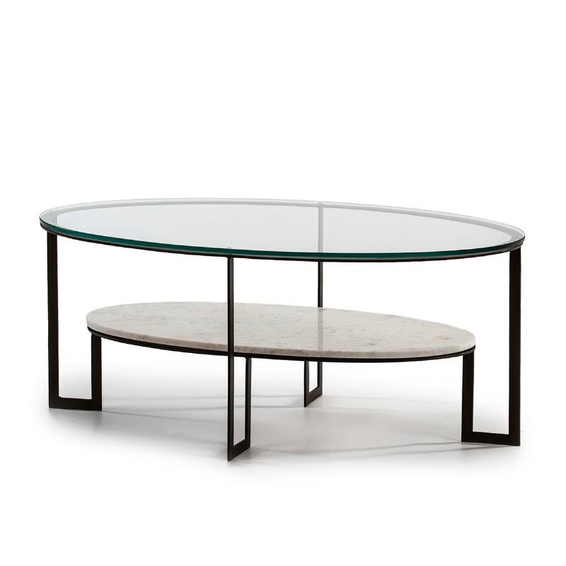Table basse 107x62x44 Verre Marbre Blanc Métal Marron Fonce - image 51589