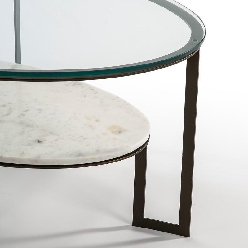 Table basse 107x62x44 Verre Marbre Blanc Métal Marron Fonce - image 51591