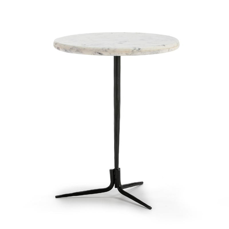 Side Table 46X46X58 Marble White Metal Black