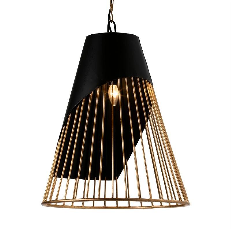 Lampada A Sospensione 52X52X69 Metallo Dorato Nero - image 51599