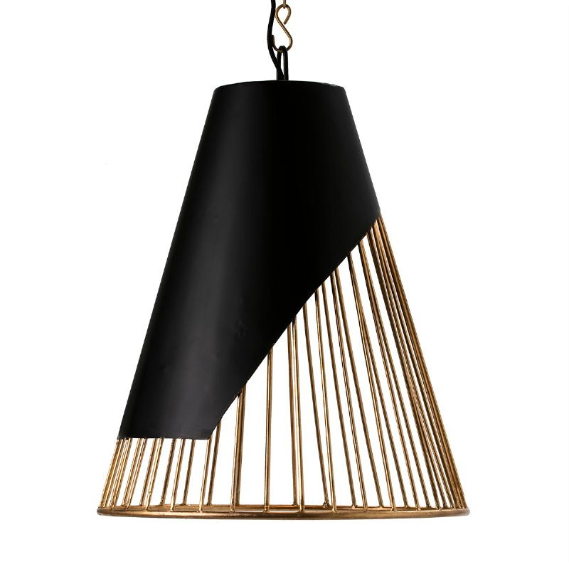 Lampada A Sospensione 52X52X69 Metallo Dorato Nero - image 51601