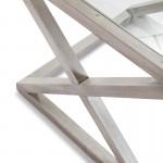 Side Table 60X60X55 Glass Wood Grey Veiled
