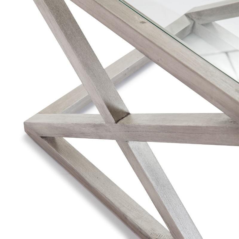 Table d'appoint, bout de canapé, bout de canapé 60x60x55 Verre Bois Gris blanchi - image 51620