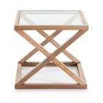 Hilfstisch 60X60X55 Glas/Holz Natürlich Verschleiert