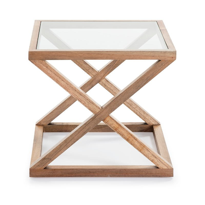 Side Table 60X60X55 Glass Wood Natural Veiled - image 51624