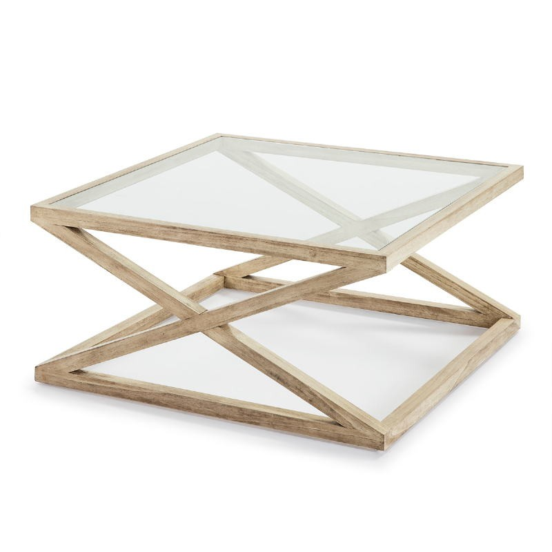 Coffee Table 90X90X45 Glass Wood White Veiled - image 51625