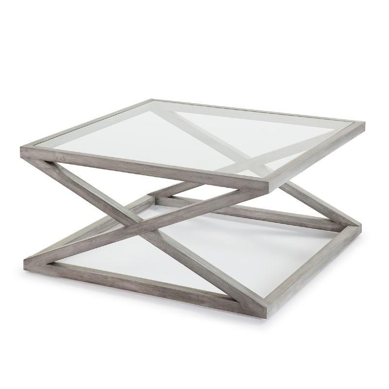 Coffee Table 90X90X45 Glass Wood Grey Veiled - image 51628