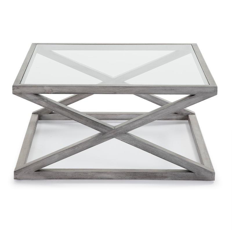 Coffee Table 90X90X45 Glass Wood Grey Veiled - image 51630