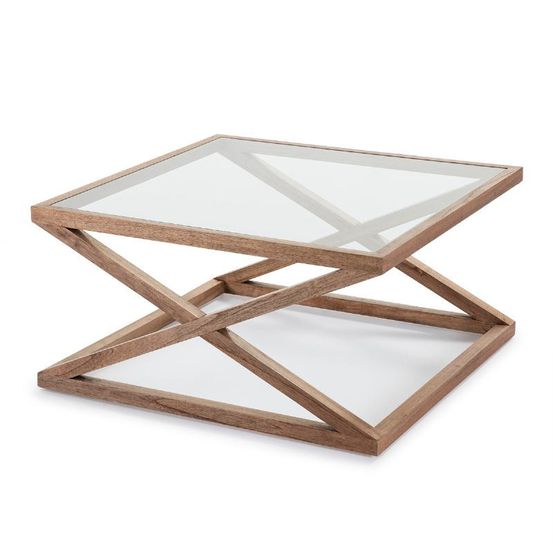 Coffee Table 90X90X45 Glass Wood Natural Veiled