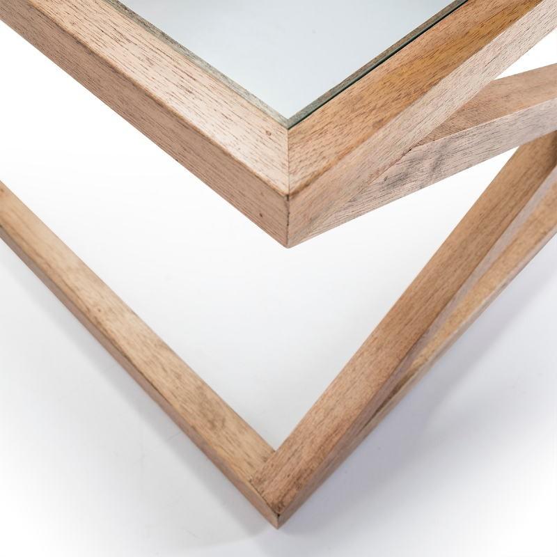 Coffee Table 90X90X45 Glass Wood Natural Veiled - image 51632