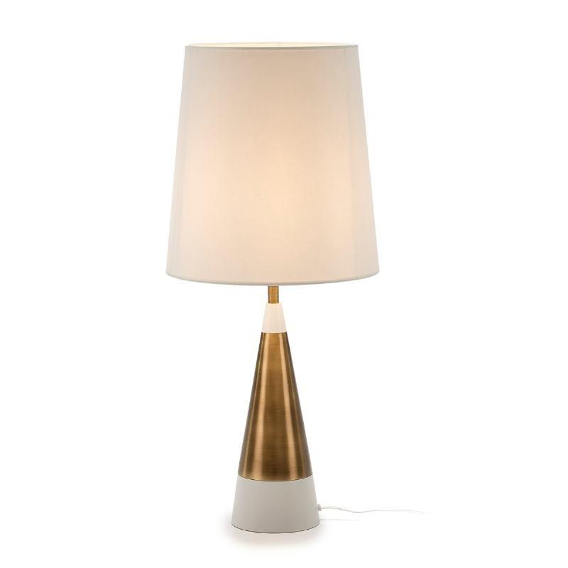 Lampe Auf Tisch Ohne Bildschirm 13X13X45 Metall Golden/Weiß