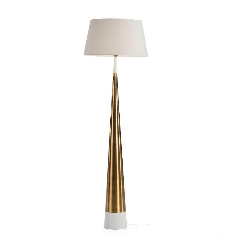 Lampada A Stelo Senza Paralume 18X18X140 Metallo Bianco Dorato