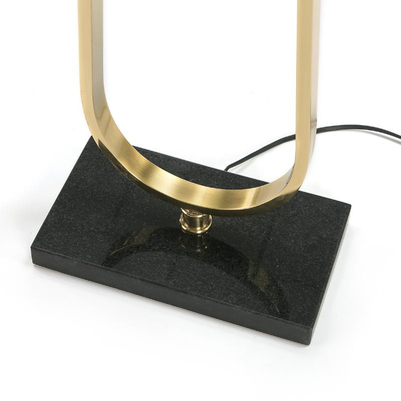 Lampada A Stelo Senza Paralume 28X16X151 Metallo Dorato Pietra Nero - image 51659