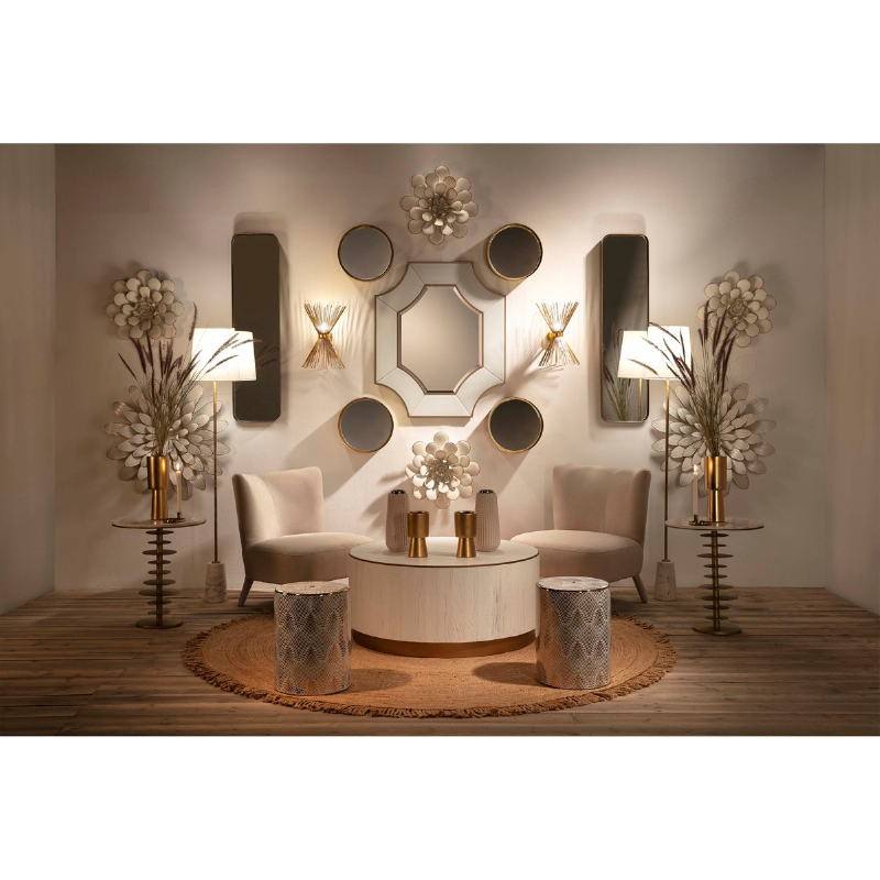 Standard Lamp Without Lampshade 14X14X140 Marble White Metal Golden - image 51686