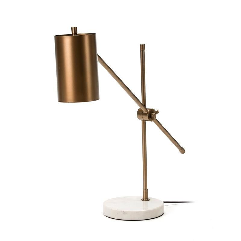 Lampada Da Tavolo 66X16X75 Marmo Bianco Metallo Dorato - image 51694
