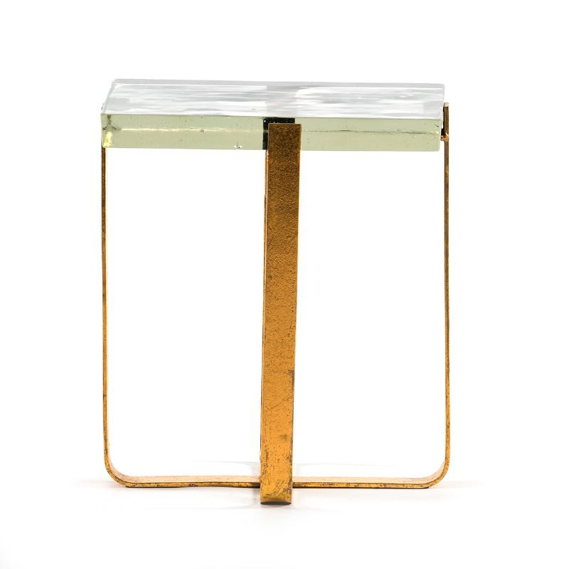 Side Table 41X26X46 Glass Metal Golden - image 51699