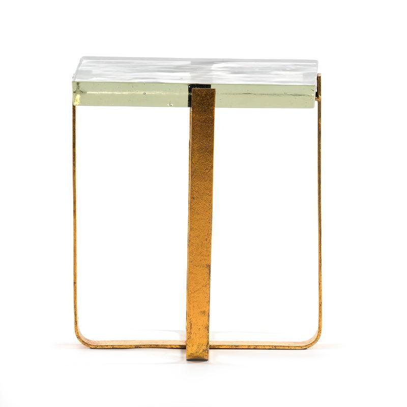 Table d'appoint, bout de canapé, bout de canapé 41x26x46 Verre Métal Doré - image 51699