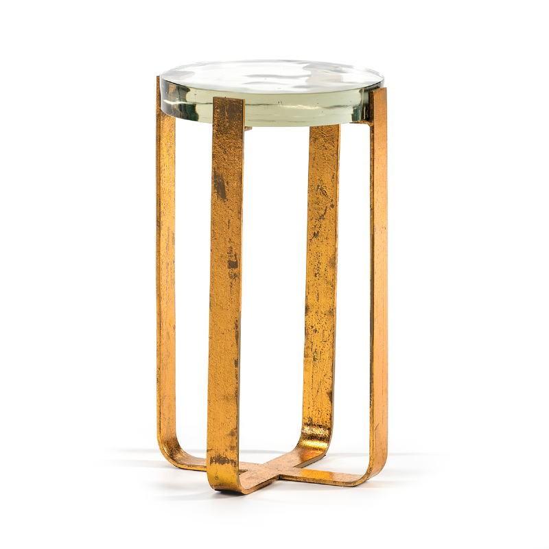 Hilfstisch 26X26X46 Glas/Metall Golden
