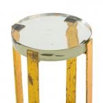 Table d'appoint, bout de canapé 26x26x46 Verre Métal Doré