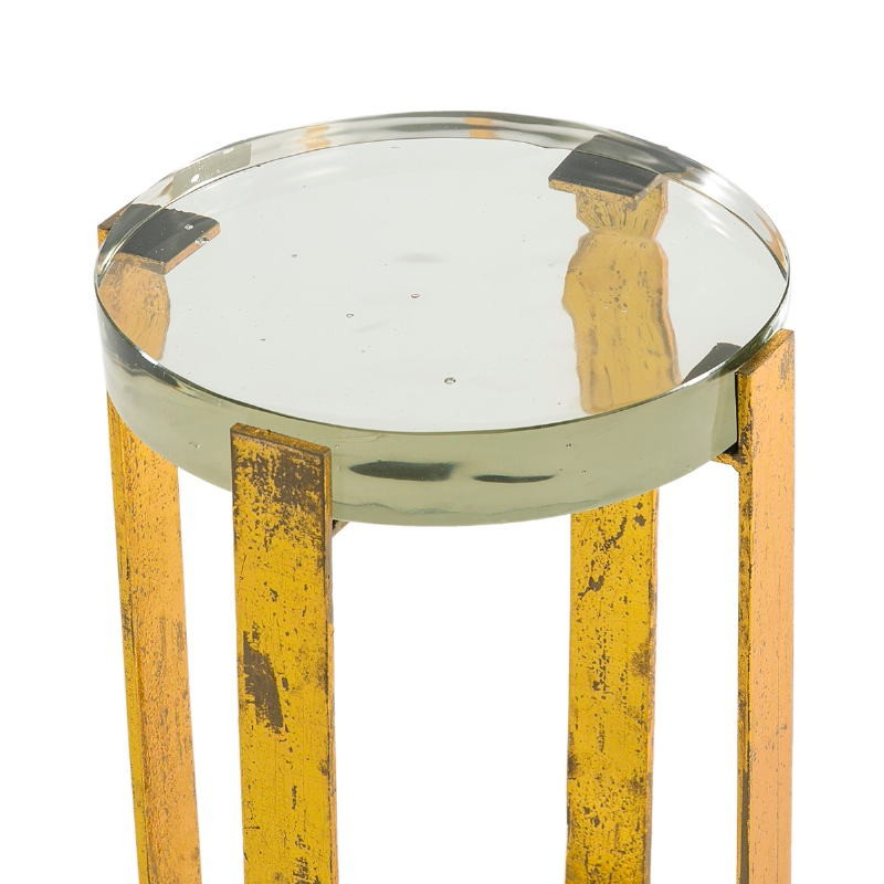 Side Table 26X26X46 Glass Metal Golden - image 51701