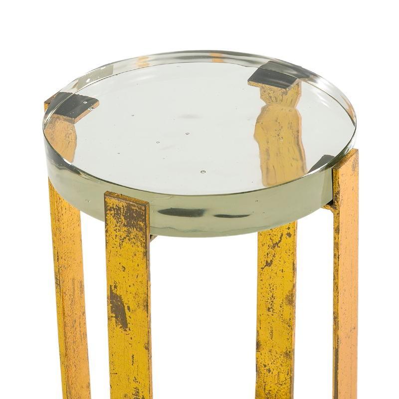 Table d'appoint, bout de canapé 26x26x46 Verre Métal Doré - image 51701