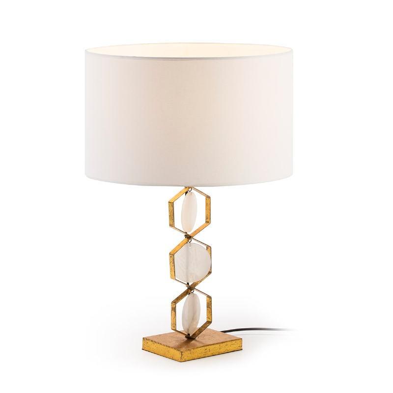 Lampe de table sans abat-jour 16x12x36 Métal Doré Pierre Blanc