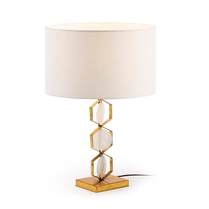 Table lamp Without Lampshade 16X12X36 Metal Golden Stone White - image 51705