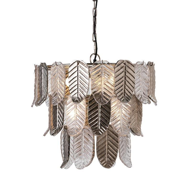 Lampada A Sospensione 46X46X43 Vetro Metallo Argento - image 51721