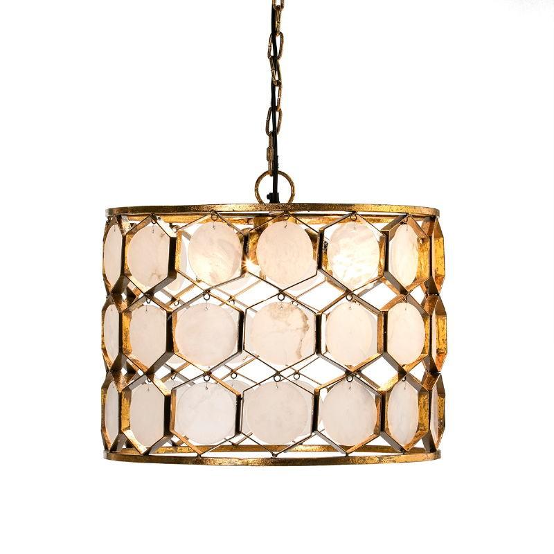 Lampada A Sospensione 46X46X40 Metallo Dorato Marmo Bianco