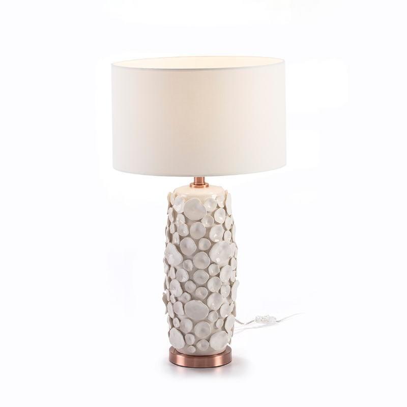 Lampe Auf Tisch Ohne Bildschirm 17X15X52 Keramik Weiß/Metall Kupferfarbe