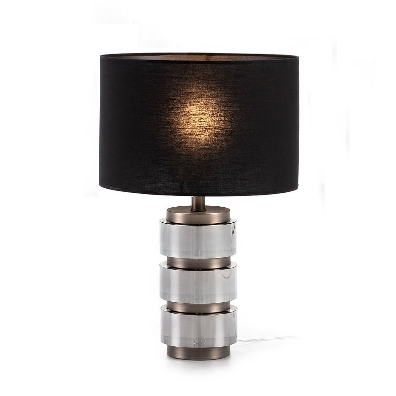 Lampada Da Tavolo Senza Paralume 14X12X36 Metacrilato Affumicato Metallo Grigio