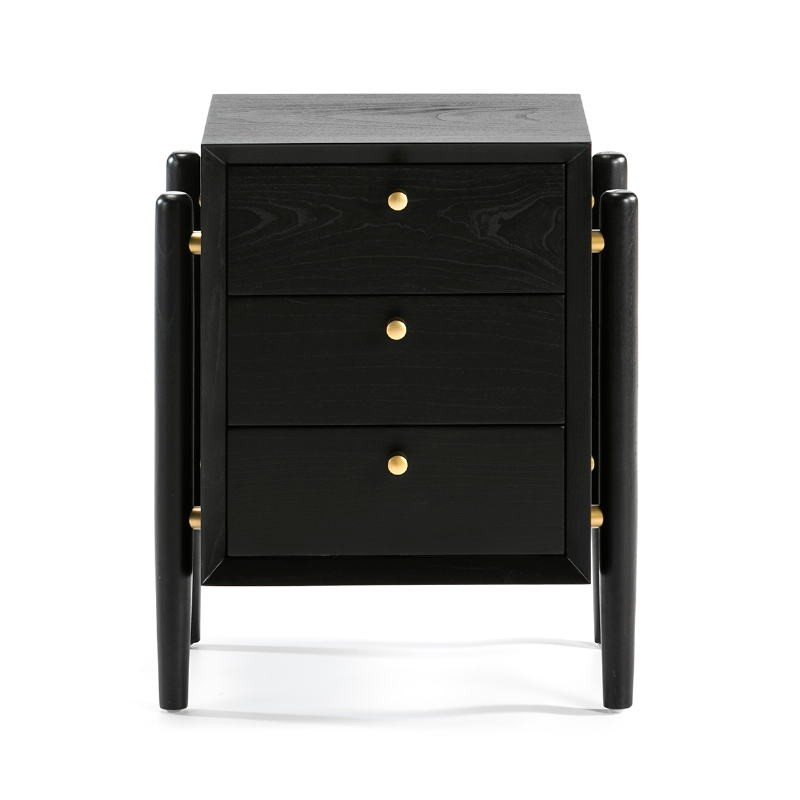 Bedside Table 3 Drawers 50X40X61 Wood Black - image 51767