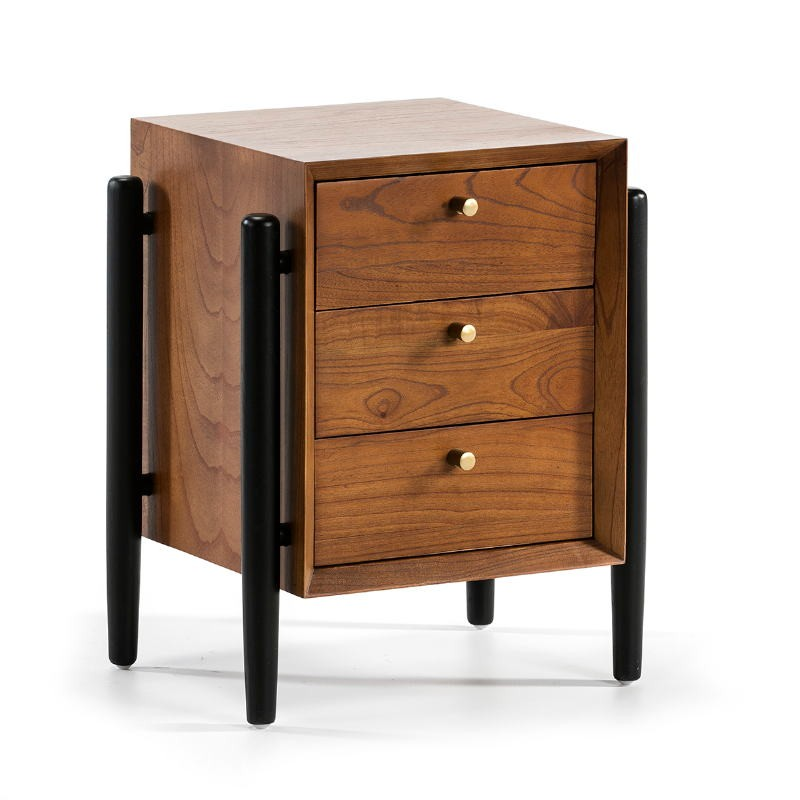 Bedside Table 3 Drawers 50X40X61 Wood Brown Black - image 51772