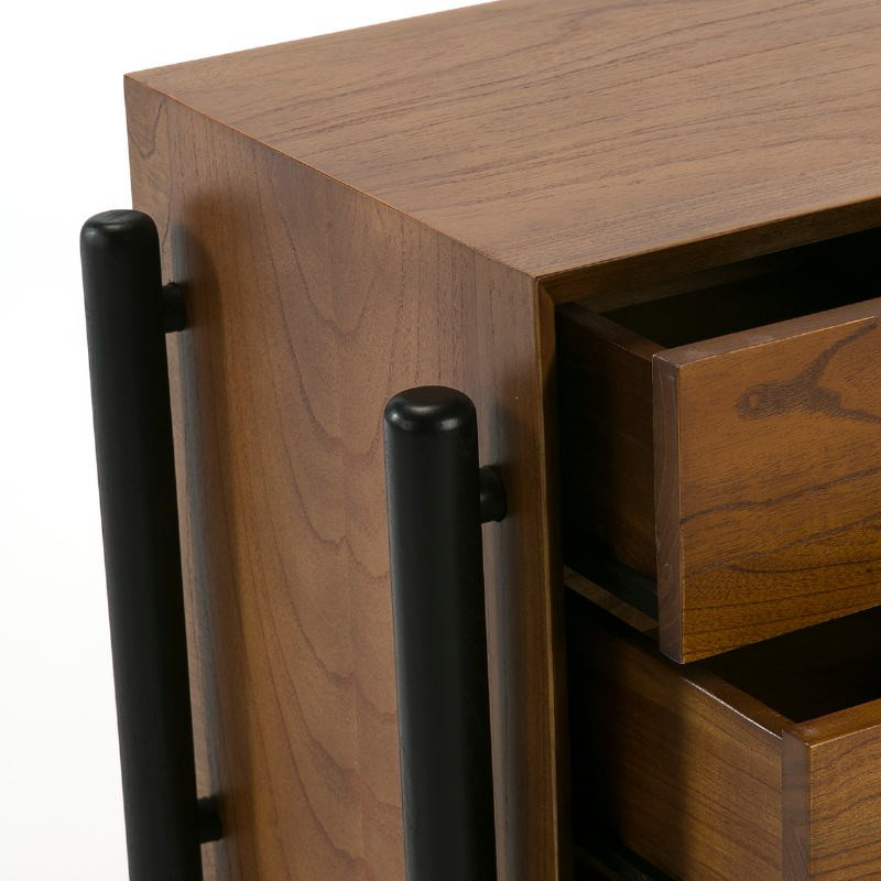 Bedside Table 3 Drawers 50X40X61 Wood Brown Black - image 51773