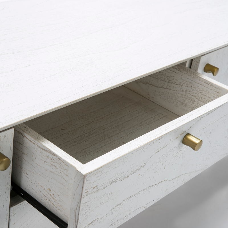 Meuble TV 2 portes 2 tiroirs 160x40x50 Bois Blanc - image 51788