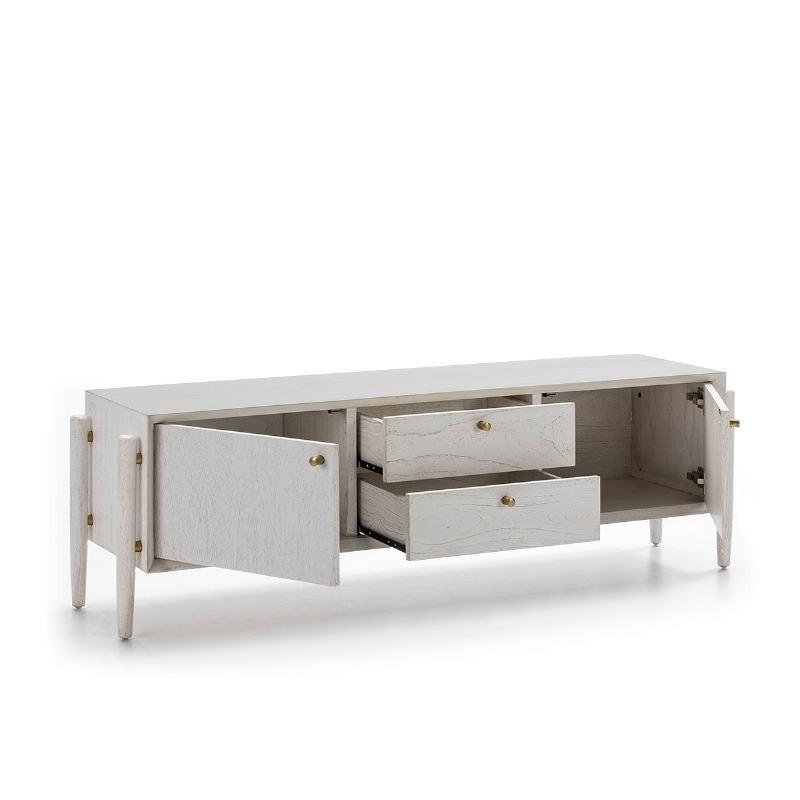 Meuble TV 2 portes 2 tiroirs 160x40x50 Bois Blanc - image 51789