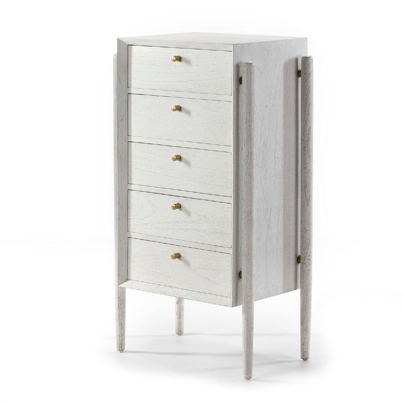 Chiffonier 5 Drawers 60X40X110 Wood White