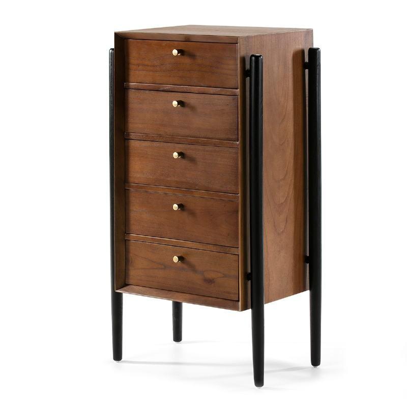 Chiffonier 5 Drawers 60X40X110 Wood Brown Black