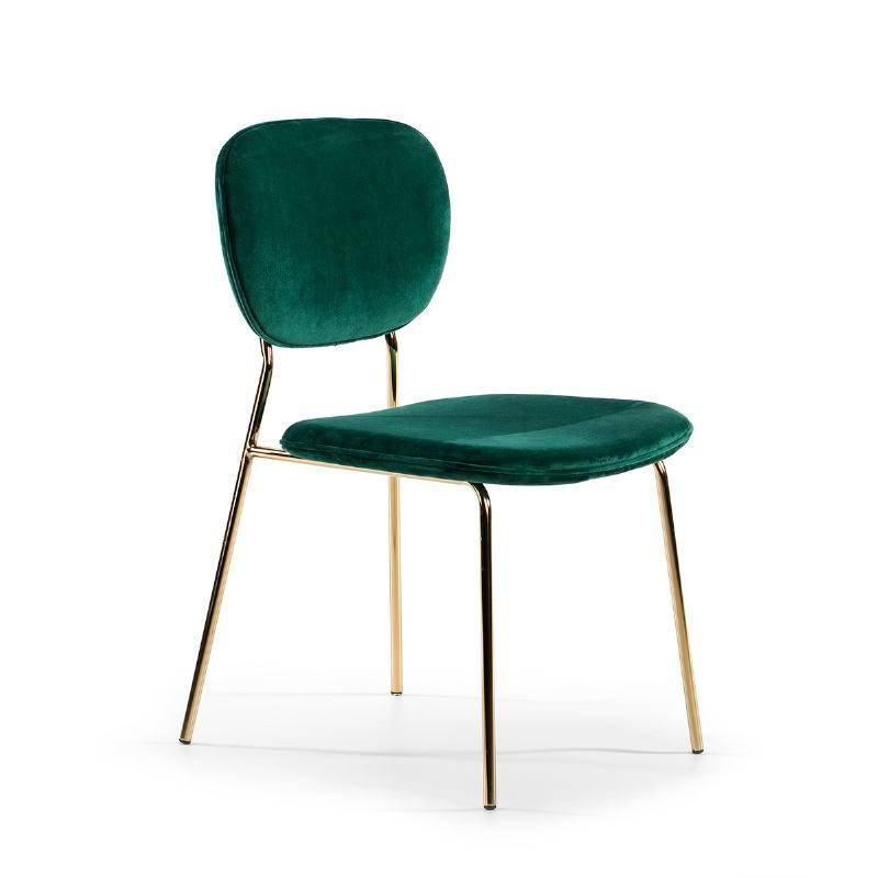 Chaise 45x55x82 Métal Doré tissu velours Vert