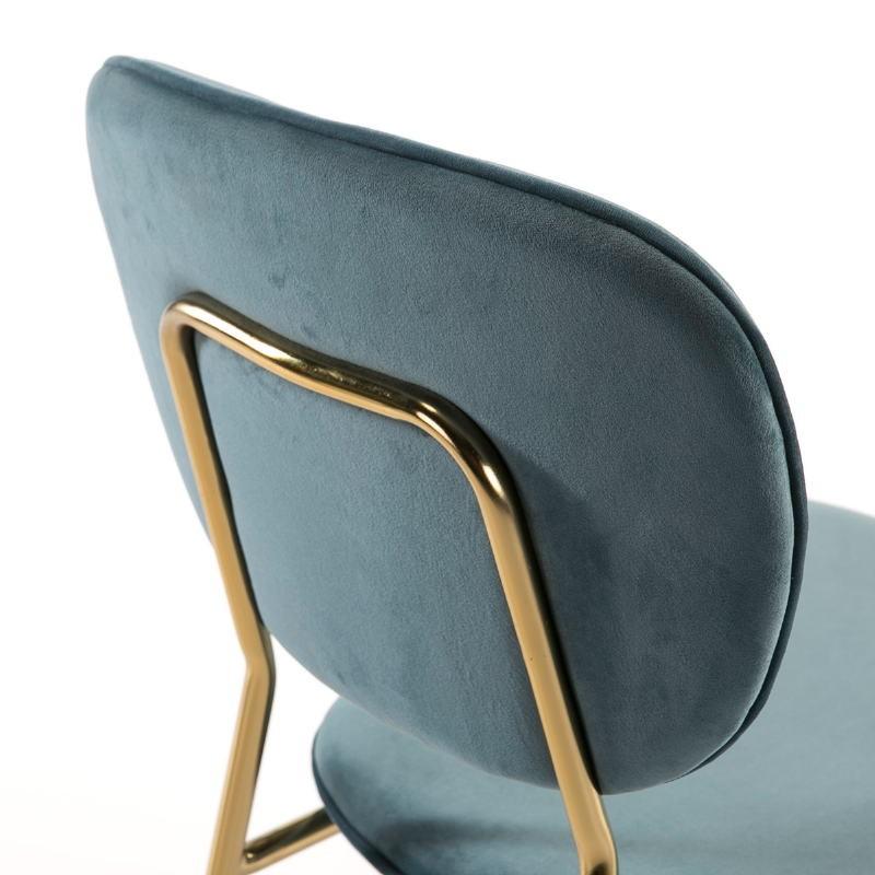 Chaise 45x55x82 Métal Doré tissu velours Bleu - image 51808