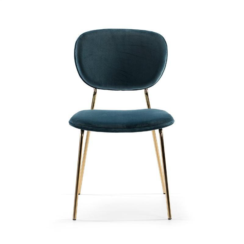 Chaise 45x55x82 Métal Doré tissu velours Bleu - image 51810