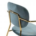 Chair Armrests 55X55X82 Metal Golden Fabric Blue