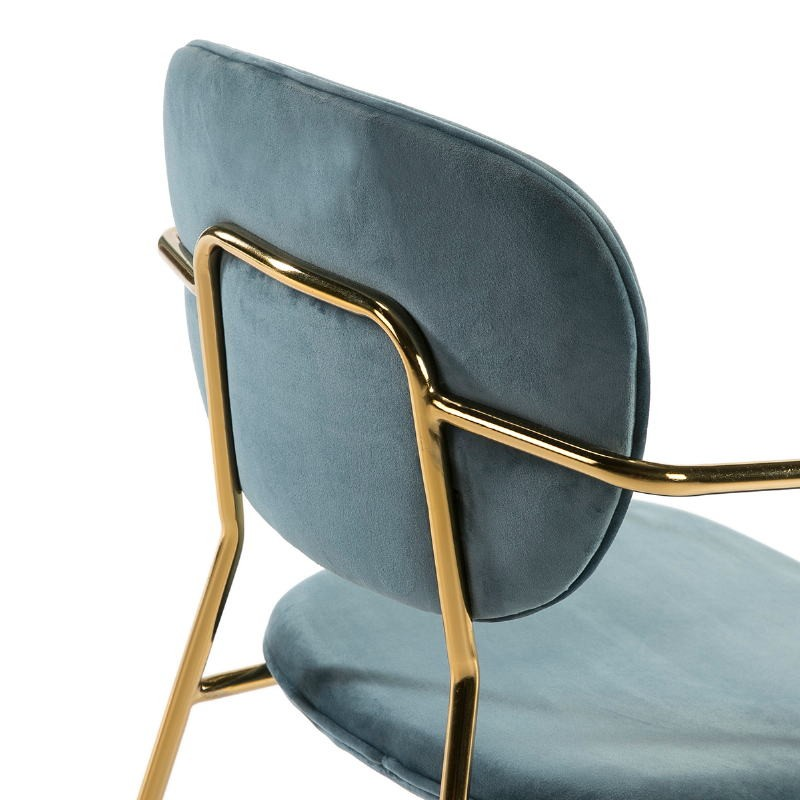 Chair Armrests 55X55X82 Metal Golden Fabric Blue - image 51817