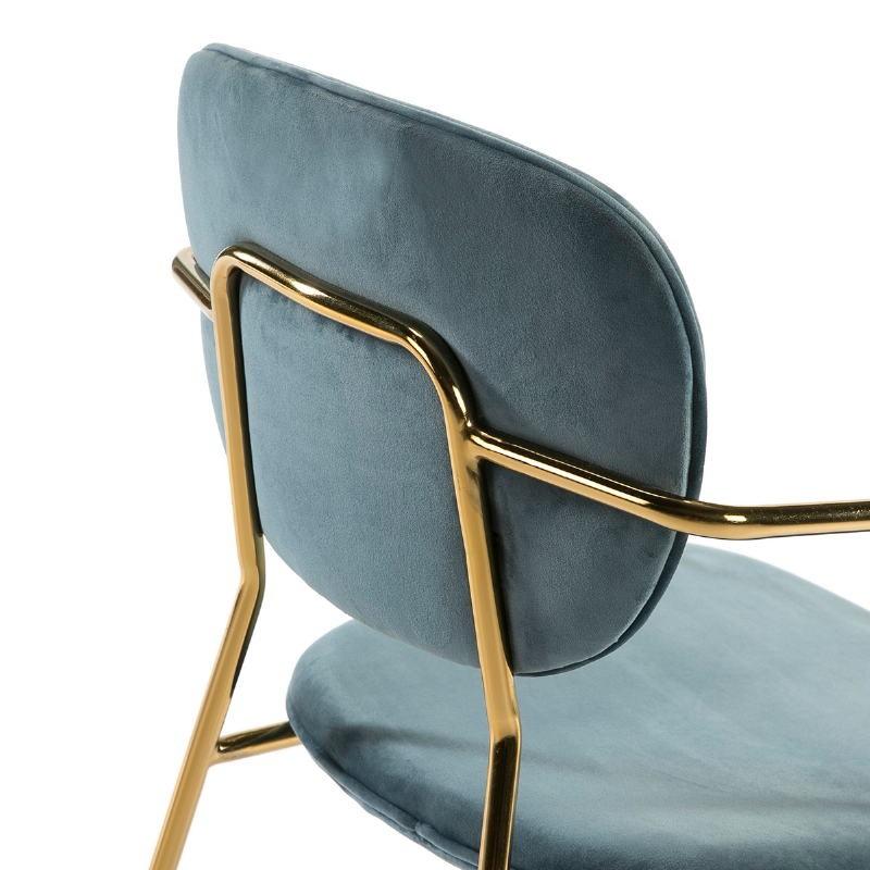 Chaise accoudoirs 55x55x82 Métal Doré tissu velours Bleu - image 51817