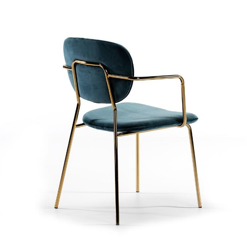 Chaise accoudoirs 55x55x82 Métal Doré tissu velours Bleu - image 51818
