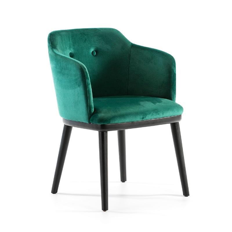 Chaise 61x48x78 Bois Noir tissu velours Vert